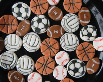 SPORTS MINTS - 6 Dozen Cream Cheese Mints, Super Bowl, Graduation Parties, Football, Basketball, Soccer, Baseball, Volleyball, Birthdays