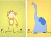 Monkey and Elephant- set of 2 original Paintings