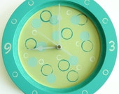 On sale-  Children/ nursery wall clock- Turquoise and white clock, hand painted on round wooden clock - Bubbles