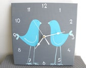 Children's Wall clock- Two blue love birds - Grey clock for nursery/ kids room/ kitchen clock - Hand painted on canvas