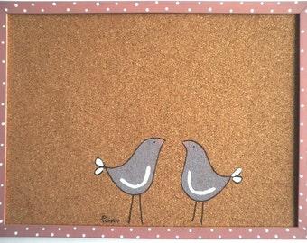Cork Board- -Decorative Memo cork board ,love birds- purple and pink memo board, message board, valentine's gift