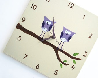 Children's Wall clock- Hand painted on canvas- Two Purple owls on a branch- Cream/ Antique White clock for nursery