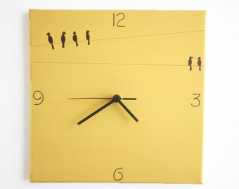 Wall clock- Birds - black and yellow clock - Hand painted on canvas kitchen clock