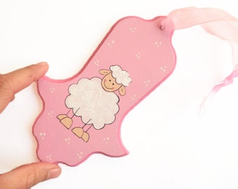 Hamsa - Pink sheep- decorative hand painted hamsa for nursery/ children's room, kids wall art, girls wall art