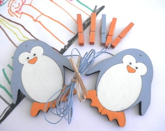 Children's  Artwork display hanger- Penguin, Blue and Orange  -kids wall art, kids art hangers, children wall decor