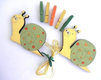 Children's  Artwork display hanger- Snails, Yellow,Green and Orange  -kids wall art, kids art hangers, children wall decor
