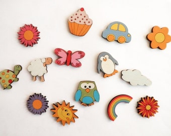 Wooden decorative Magnets- Set of 4 wooden magnets-  - animals, flowers, and more magnets for hanging children artwork on the fridge