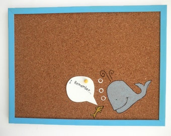 Decorative Memo Cork Board- Whale and a fish-  Blue and yellow hand painted message board, Bulletin Board