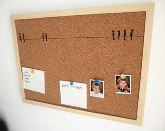 Decorative Memo Cork Board- Birds-  Cream hand painted message board, Bulletin Board