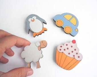 Magnets- Set of 4 wooden magnets- penguin, cupcake, sheep and car