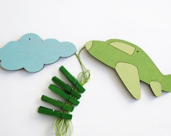 Children's  Artwork display hanger-Airplane and a cloud - Green and Blue transportation wall art for Boys - kids wall decor hangers