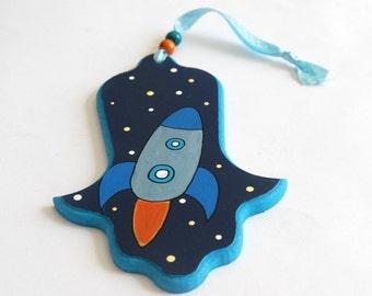 Hamsa - Children-  Rocket at space - Blue and orange painted hamsa for nursery/ children's room, kids wall art, boys wall art