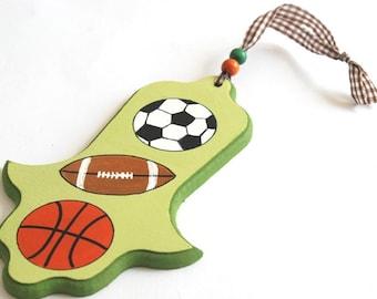 Children Hamsa - Sport- Green hamsa for nursery/ children's room, kids wall art, boys wall art, football, baseball, basketball