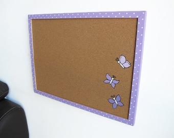 Memo Cork Board- Purple butterflies and White polka dots decorative cork board - Hand painted message board, Bulletin Board for girls