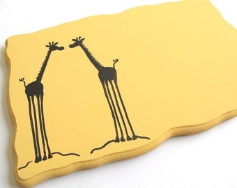 Personalized Door sign-Two Giraffes, yellow and black sign for kids room, family front door sign, couple sign, students sign