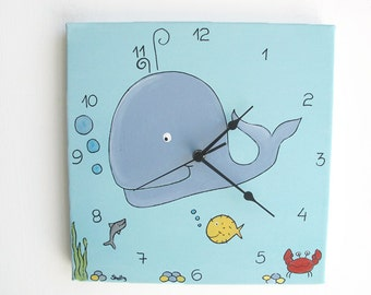 Kids Wall clock- Sea theme, blue whale Square Clock for children/ nursery room - Hand painted on canvas, children decor