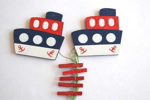 Children's  Artwork display hanger- Boat- Blue, red and white- transportation kids wall decor hangers