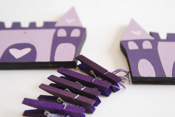Children's  Artwork display hanger- Palace- Purple wall art for girls - kids wall decor hangers, baby shower/ birthday decoration