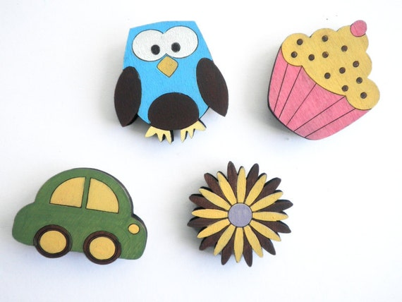 Magnets- Set of 4 wooden magnets- owl, cupcake, flower and car, kids magnets, colorful magnets, children magnets