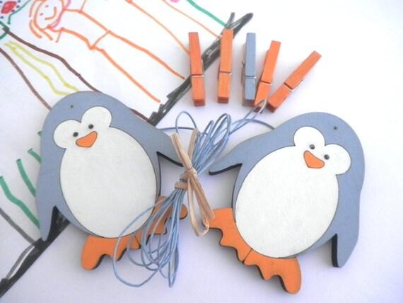 Children's  Artwork display hanger- Penguin, Blue and Orange  -kids wall art, kids art hangers, children wall decor