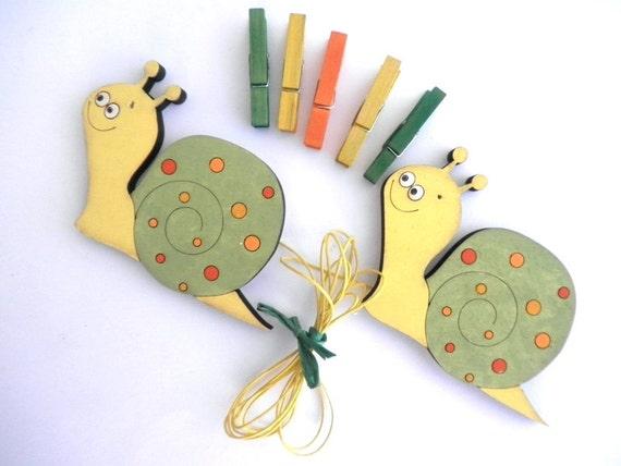 Children's  Artwork display hanger- Snails, Yellow,Green and Orange  -kids wall art, kids art hangers, children wall decor