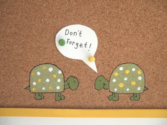 Decorative Memo Cork Board- Turtles-  Yellow and Green hand painted message board, Bulletin Board
