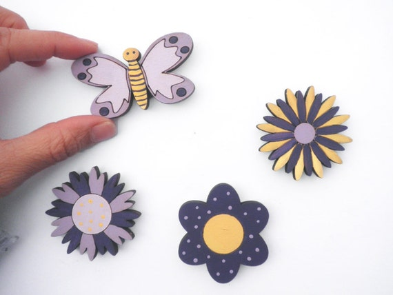 Magnets- Set of 4 wooden magnets-Purple and Yellow butterfly and flowers -funny magnets for children/teens/adults gift