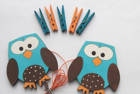 Children's  Artwork display hanger- Owls- Blue, orange and brown- kids wall art, owl wall art, boys decor, displaying kids artwork
