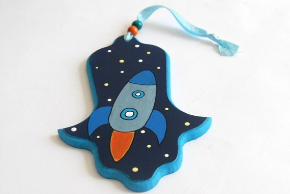 Hamsa - Children-  Rocket at space - Blue and orange painted hamsa for nursery/ children's room, kids wall art, boys wall art