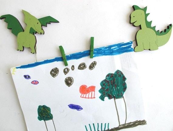 Children's  Artwork display hanger- Dinosaur- Green  wall art for boys - kids wall decor hangers