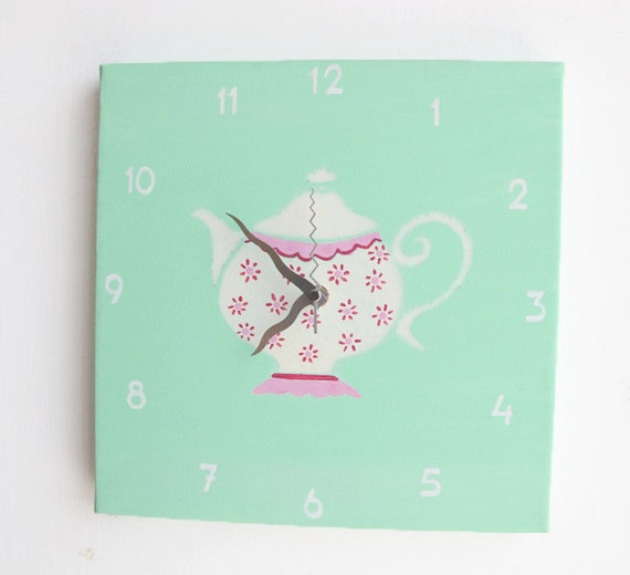 Hand painted on canvas-Vintage Tea pot kitchen clock- white and pink spa green clock for nursery/ kids room