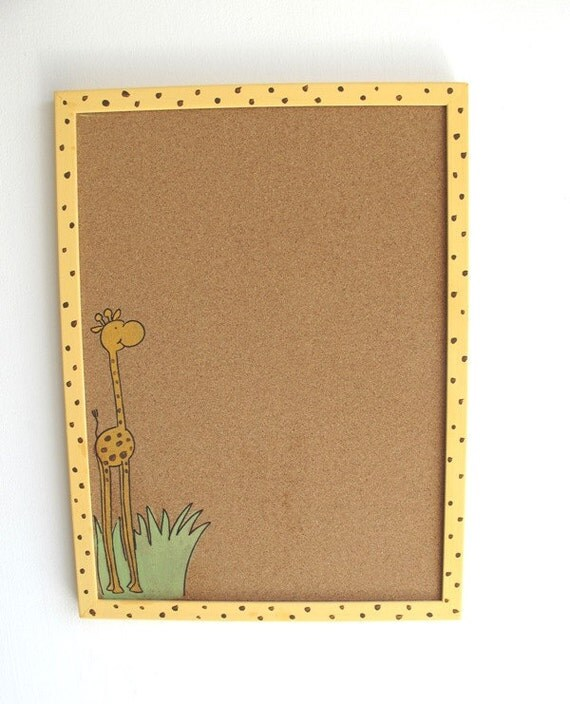 Cork Board- Yellow giraffe with brown polka dots - Children yellow hand painted message board, Bulletin Board