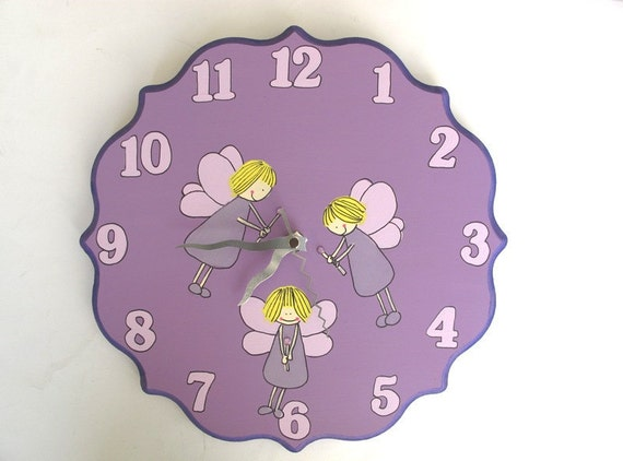 Children/ nursery wall clock- Purple fairies with crystals wands, girls room decor, fairies clock, hand painted on round wooden clock