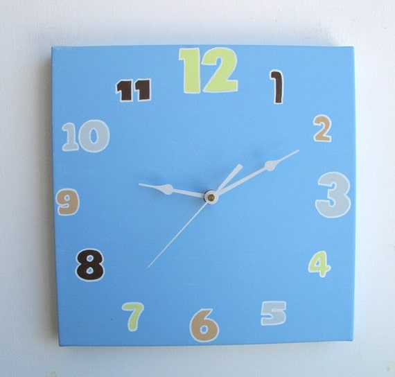 Wall clock- Decorative square clock -Blue,lemonade and brown clock, Hand painted on canvas- unique gift