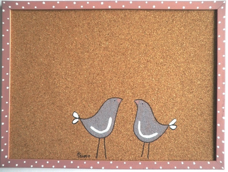 cork board decorative memo cork board love birds by shellyka