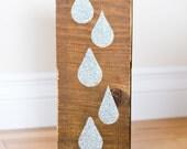 Silver Glitter on Reclaimed wood- Rain drops-