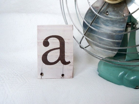 Letter A- on Reclaimed Wood- brown and creamy pink