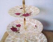 ROSETTA POTT - Upcycled Vintage English Bone China 3 Tier Cake Stand/Wedding Table Center