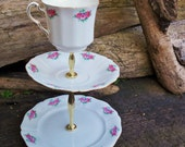 APRIL POTT - Upcycled Vintage Paladin China Tea Trio.  Windowsill Stand/Change Holder/Specticle Stand/Versatile Necessary Object