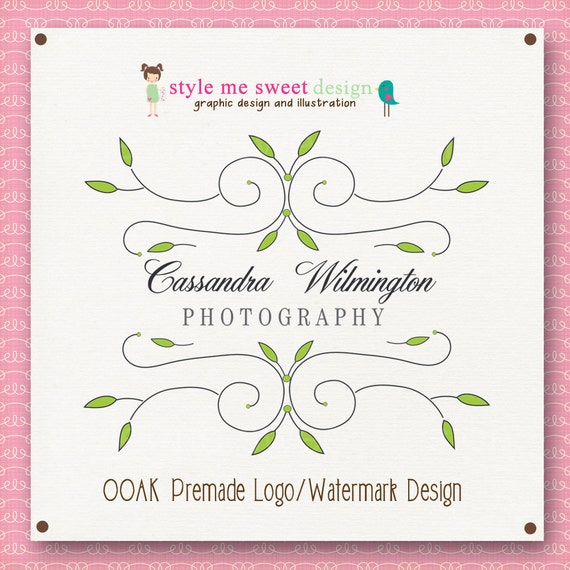 Hand Drawn Premade Photography Watermark Logo Design OOAK Never Resold