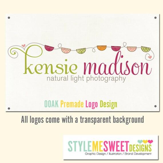 Premade Logo Design Bunting Flags Damask Patterns Photography Photographer Shop Logo Design Hand Drawn OOAK