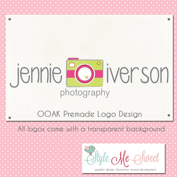 Premade Logo Design Hand Drawn - Cute Dotty Camera Text Photography Photographer Small Business Logo NEVER RESOLD