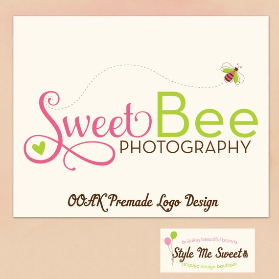 Hand Drawn premade Logo Design  - Cute Bee and Heart Swash Text Small Business Photography Photographer Logo OOAK