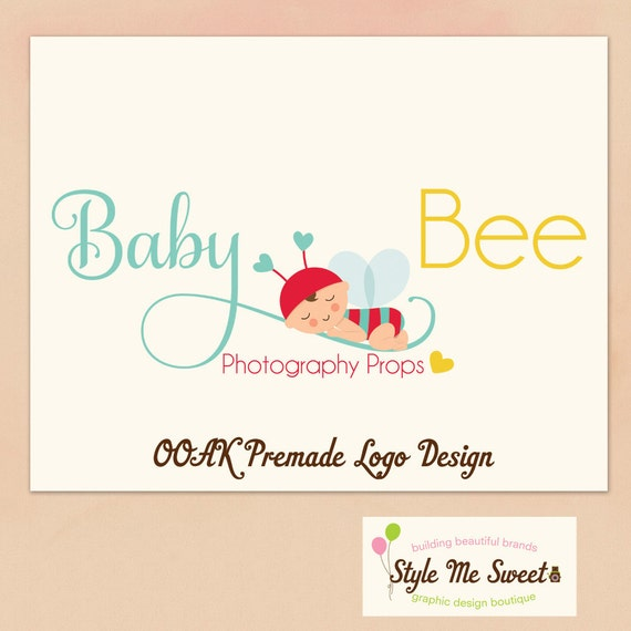 OOAK Premade Character illustrated Logo Design - Adorable Baby in Bee Costume Hand Drawn Photography Small Business Never Resold