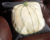 White Pumpkin Pillow Cover Hand-Painted & Embroidered