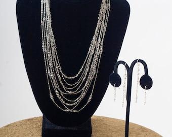 Nine Strand Sterling Silver and Swarovski Crystal Necklace Big Ol' Sloppy