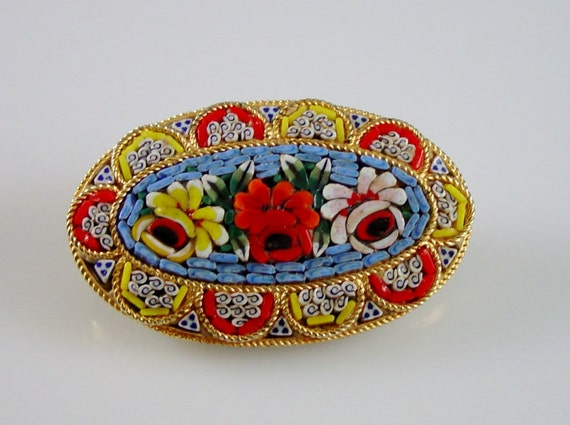 Vintage Micro Mosaic Brooch Floral Tile Pin Italy