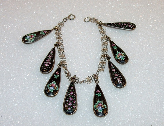 Unusual Persian Enamel Vintage Bracelet 2 Sided Black Green Pink Silver