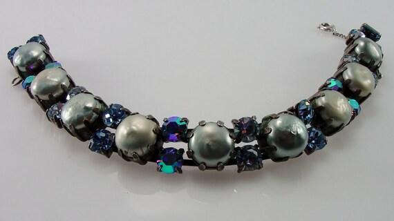 Vintage Regency Baroque Pearl Rhinestone Bracelet Signed