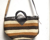stripe JUTE woven straw 70s LEATHER purse